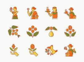 Conjunto de ícones de linha colorida de café de etiópia de origem única