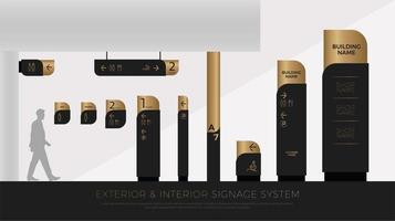 Conjunto de sinalização interna e externa de luxo em preto e dourado vetor