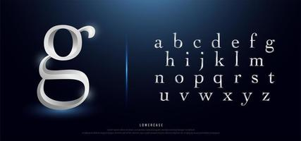 alfabeto minúsculo de metal prateado elegante vetor