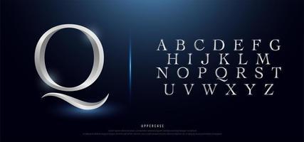 elegante alfabeto maiúsculo de metal prateado vetor