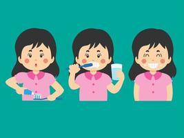 escovando os dentes atividades desenho animado menina vetor