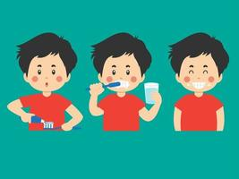 escovando os dentes atividades cartoon conjunto de menino vetor