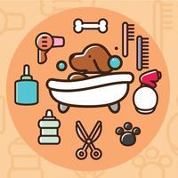 Ícones de vetor de lavagem de cachorro