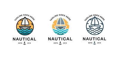 barco a vela. conjunto de emblema náutico vetor