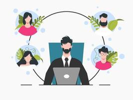 homem de negócios no laptop em reunião com avatares vetor