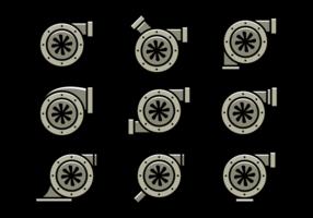 Ícones de vetor de turbocompressor