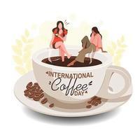 projeto do dia do café com mulheres sentadas na xícara de café vetor