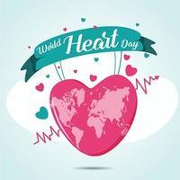 design do dia mundial do coração vetor