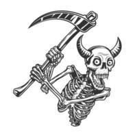 crânio com chifre segurando uma foice