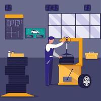 mecânico trabalhando em uma oficina vetor