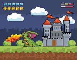 videogame, castelo de pixel-art e cena de dragão