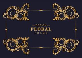 moldura floral dourada espiralada vetor
