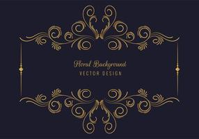 moldura retangular floral dourada decorativa elegante vetor