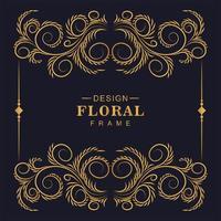 fantástica moldura dourada decorativa floral ornamental vetor