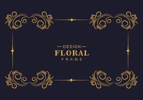 bela moldura dourada decorativa simétrica vetor