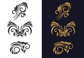 Conjunto decorativo floral criativo preto e dourado vetor