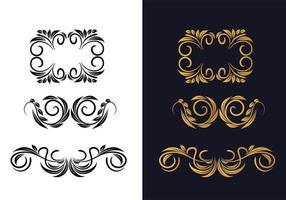lindo ornamento floral definido em ouro e preto vetor