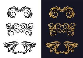 lindos designs decorativos florais em preto e dourado vetor