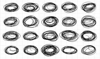 conjunto de rabiscos circulares de esboço vetor