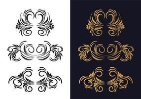 Conjunto floral decorativo elegante em preto e dourado vetor