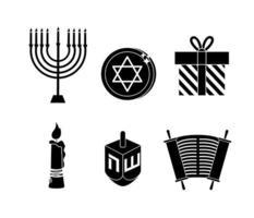 conjunto de ícones de celebração judaica e hanukkah