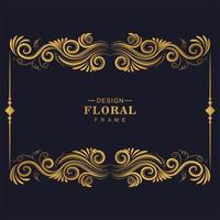 moldura artística floral dourada vetor
