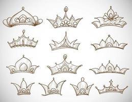 lindo conjunto de desenho de coroas desenhadas à mão vetor