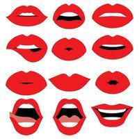 lábios de mulher isolados vetor