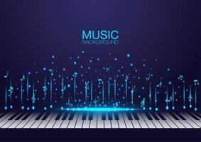 teclas de piano com brilhantes notas musicais voadoras vetor