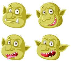 conjunto de goblins amarelos ou rostos de trolls vetor
