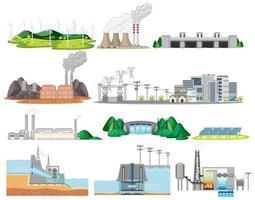 Conjunto de construção de fábricas industriais vetor