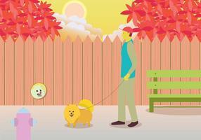 Proprietário Walking Pomeranian Illustration vetor