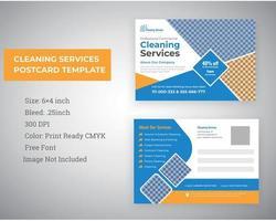 serviço de limpeza design de cartão postal de material de marketing vetor