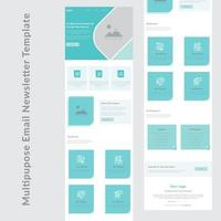design de modelo de boletim informativo de e-mail comercial multiuso azul e branco vetor