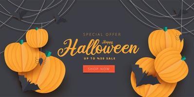 banner de venda de abóbora, morcego e aranha em papel arte de halloween vetor