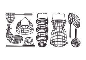 Ícones do vetor da rede de pesca