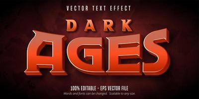 texto da idade das trevas, efeito de texto editável de estilo de jogo vetor