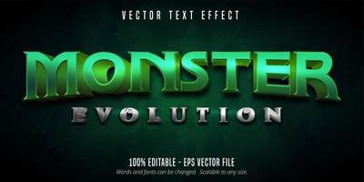 texto de evolução de monstro, efeito de texto editável de estilo de jogo vetor