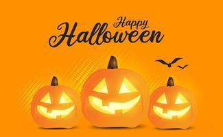 pôster de promoção de venda de halloween em laranja com jack-o-lanterns vetor
