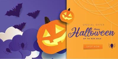 banner de venda de arte em papel de halloween com céu roxo vetor