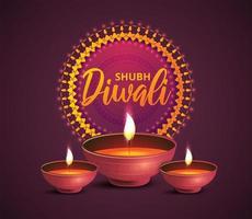 pôster quadrado roxo de diwali com lâmpadas a óleo e enfeites vetor