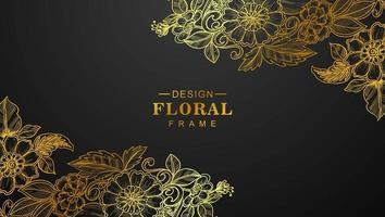lindos cantos florais dourados em preto vetor