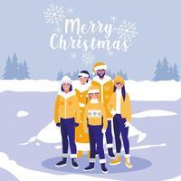 grupo de família com roupas de natal em paisagem de inverno