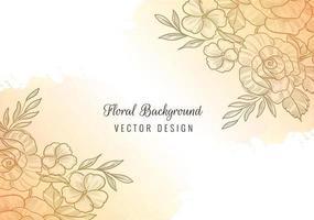 lindo canto floral com desenho em aquarela vetor