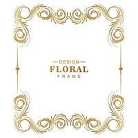 moldura floral dourada criativa ornamental em branco vetor