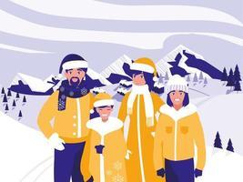 grupo de família com roupas de natal em paisagem de inverno vetor