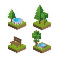 conjunto de projetos de parques isométricos vetor