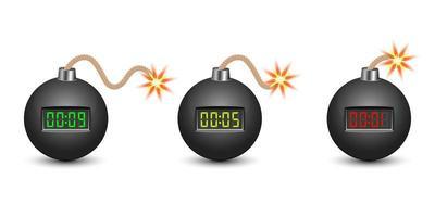 bomba cronômetro isolada no branco vetor