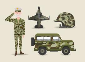 conjunto de soldados e itens militares ou do exército