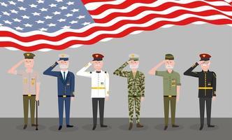 conjunto de veteranos militares e bandeira